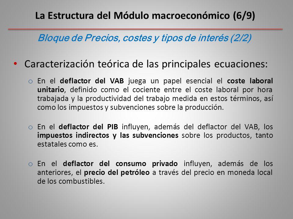 Caracterización teórica de las principales ecuaciones: o En el deflactor del VAB juega un papel esencial el coste laboral unitario, definido como el cociente entre el coste laboral por hora trabajada y la productividad del trabajo medida en estos términos, así como los impuestos y subvenciones sobre la producción.