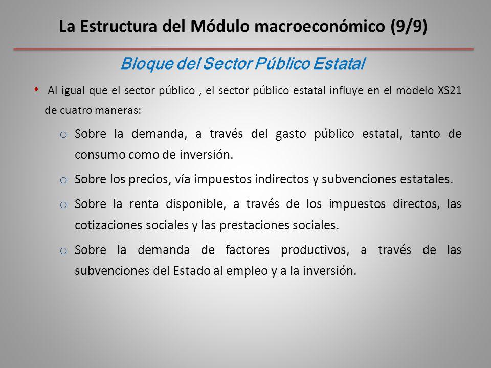Al igual que el sector público, el sector público estatal influye en el modelo XS21 de cuatro maneras: o Sobre la demanda, a través del gasto público estatal, tanto de consumo como de inversión.