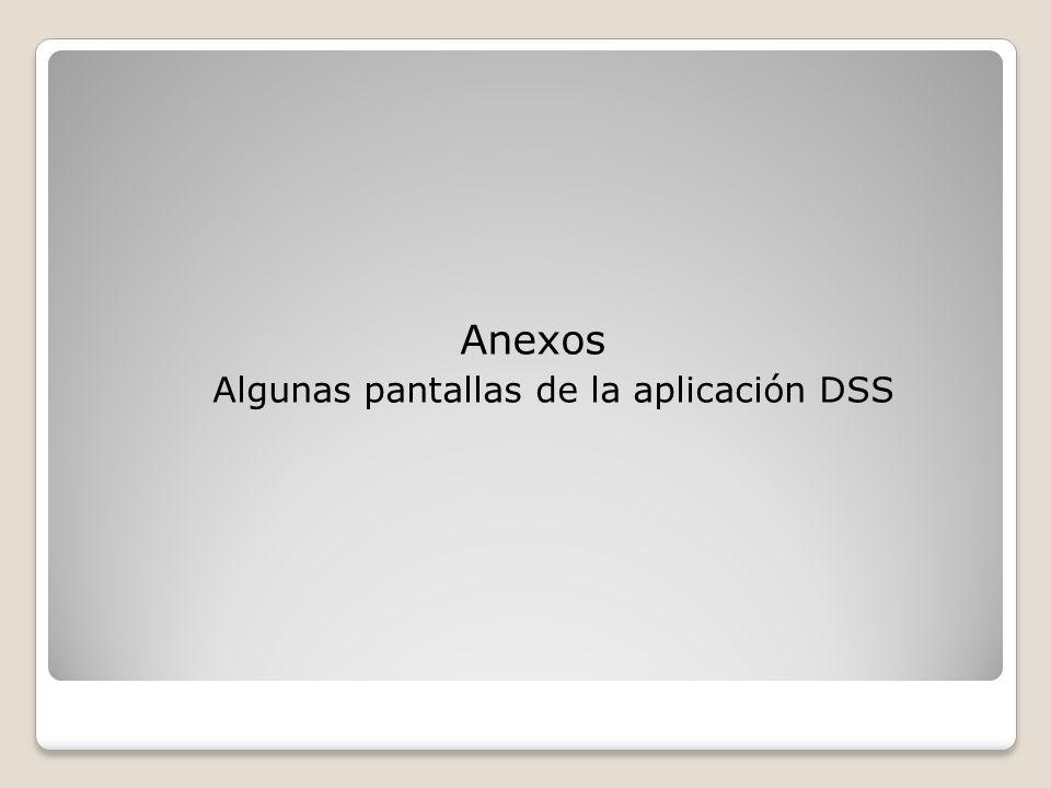 Anexos Algunas pantallas de la aplicación DSS