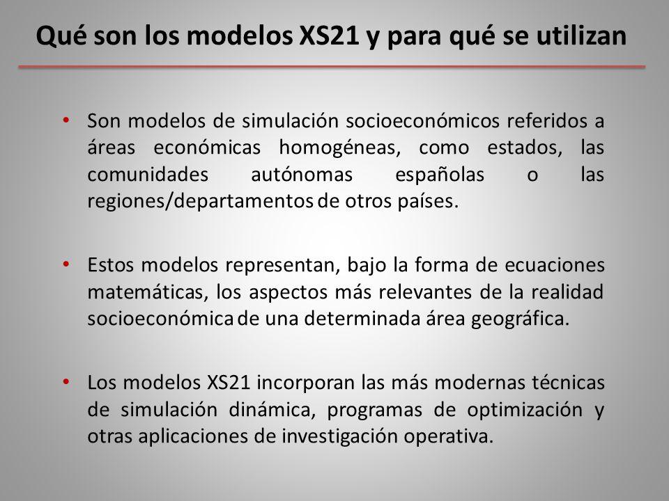 Qué son los modelos XS21 y para qué se utilizan Son modelos de simulación socioeconómicos referidos a áreas económicas homogéneas, como estados, las comunidades autónomas españolas o las regiones/departamentos de otros países.
