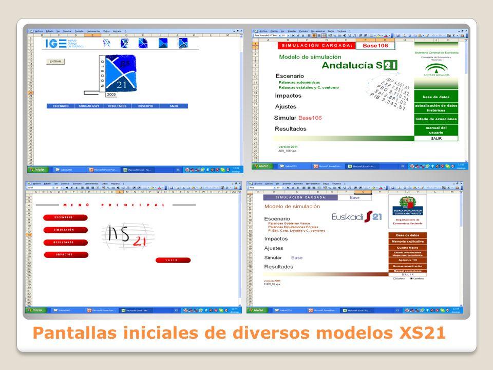 Pantallas iniciales de diversos modelos XS21