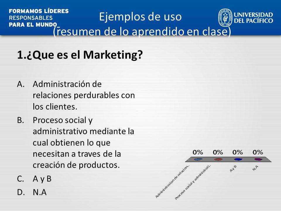 1.¿Que es el Marketing? A.Administración de relaciones perdurables con los clientes. B.Proceso social y administrativo mediante la cual obtienen lo qu