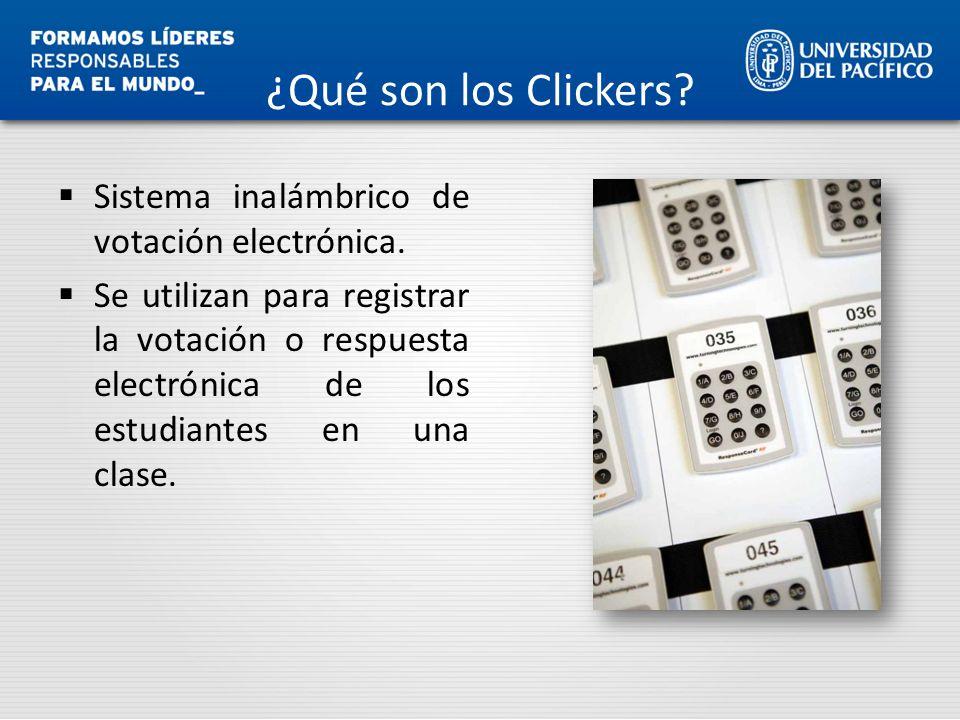 Sistema inalámbrico de votación electrónica. Se utilizan para registrar la votación o respuesta electrónica de los estudiantes en una clase.
