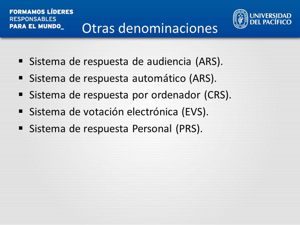 Otras denominaciones Sistema de respuesta de audiencia (ARS). Sistema de respuesta automático (ARS). Sistema de respuesta por ordenador (CRS). Sistema