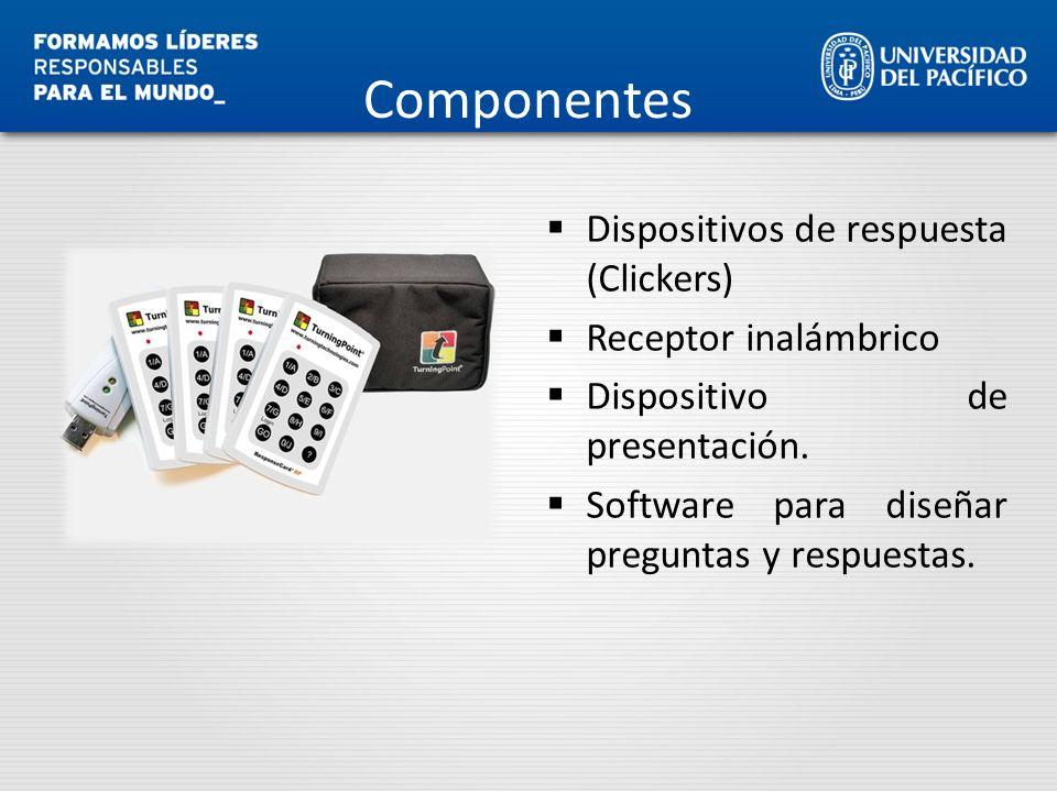 Componentes Dispositivos de respuesta (Clickers) Receptor inalámbrico Dispositivo de presentación. Software para diseñar preguntas y respuestas.