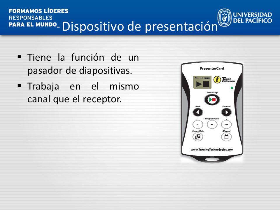 Dispositivo de presentación Tiene la función de un pasador de diapositivas. Trabaja en el mismo canal que el receptor.