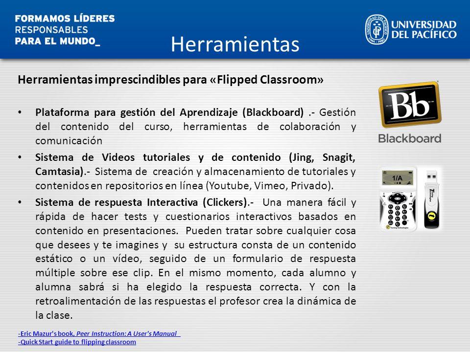 Herramientas Herramientas imprescindibles para «Flipped Classroom» Plataforma para gestión del Aprendizaje (Blackboard).- Gestión del contenido del cu