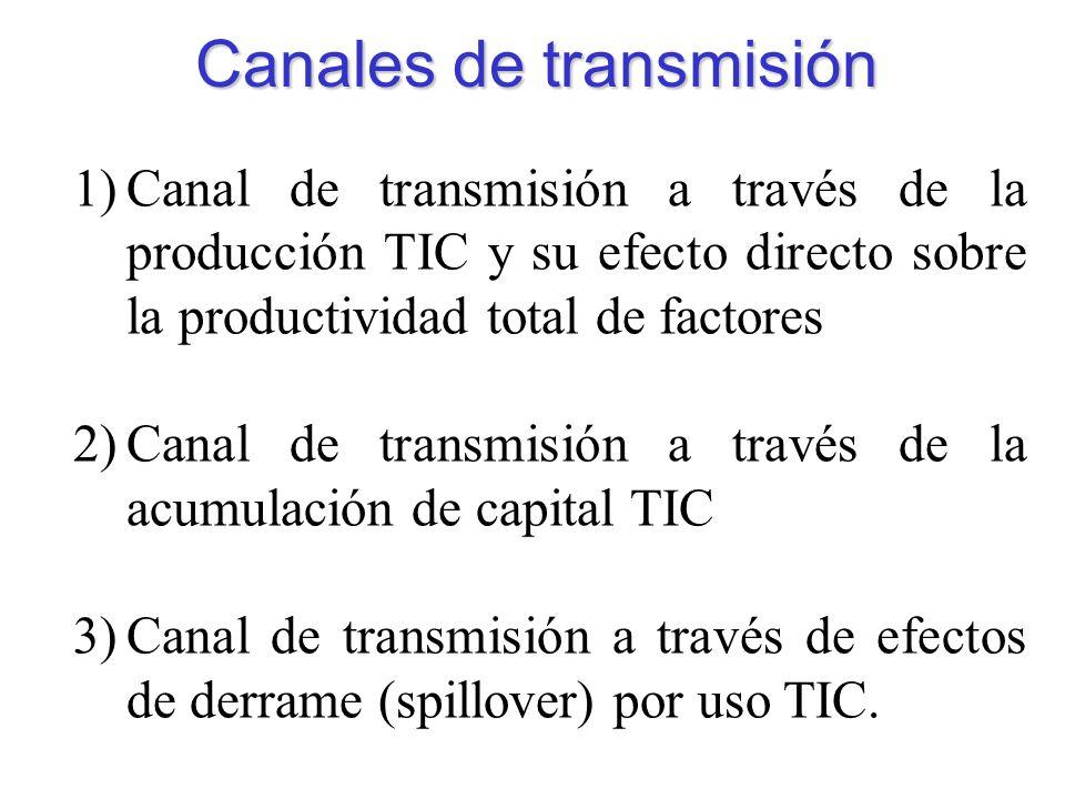 Canales de transmisión 1)Canal de transmisión a través de la producción TIC y su efecto directo sobre la productividad total de factores 2)Canal de transmisión a través de la acumulación de capital TIC 3)Canal de transmisión a través de efectos de derrame (spillover) por uso TIC.