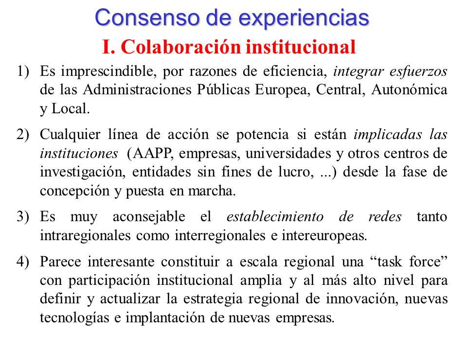 Consenso de experiencias I.