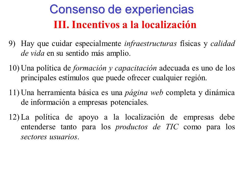 Consenso de experiencias III.