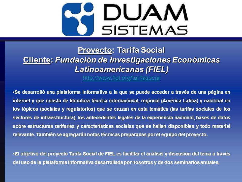 Proyecto: Tarifa Social Cliente: Fundación de Investigaciones Económicas Latinoamericanas (FIEL) Proyecto: Tarifa Social Cliente: Fundación de Investi