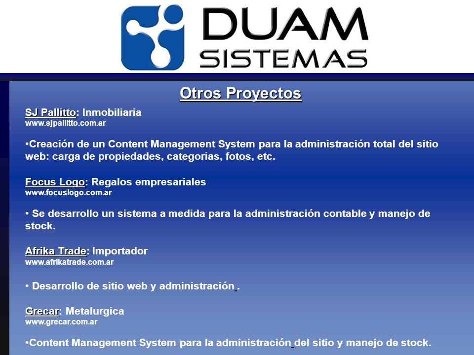 Otros Proyectos SJ Pallitto SJ Pallitto: Inmobiliaria www.sjpallitto.com.ar Creación de un Content Management System para la administración total del