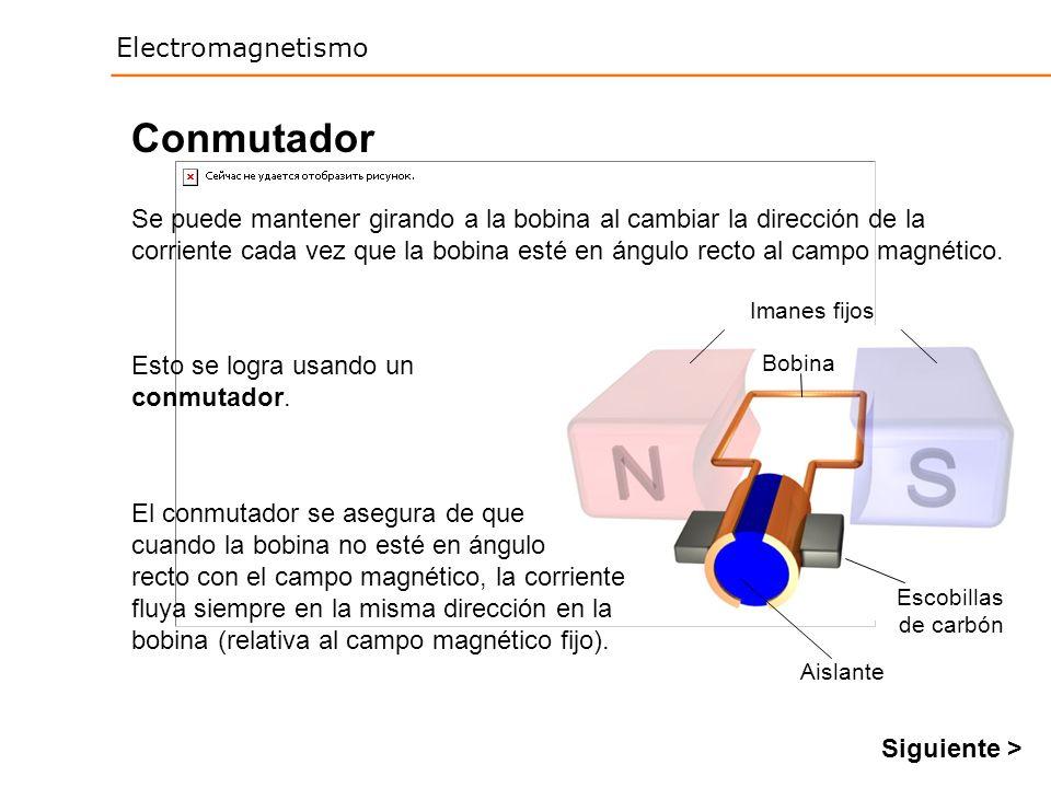 Electromagnetismo Conmutador Se puede mantener girando a la bobina al cambiar la dirección de la corriente cada vez que la bobina esté en ángulo recto