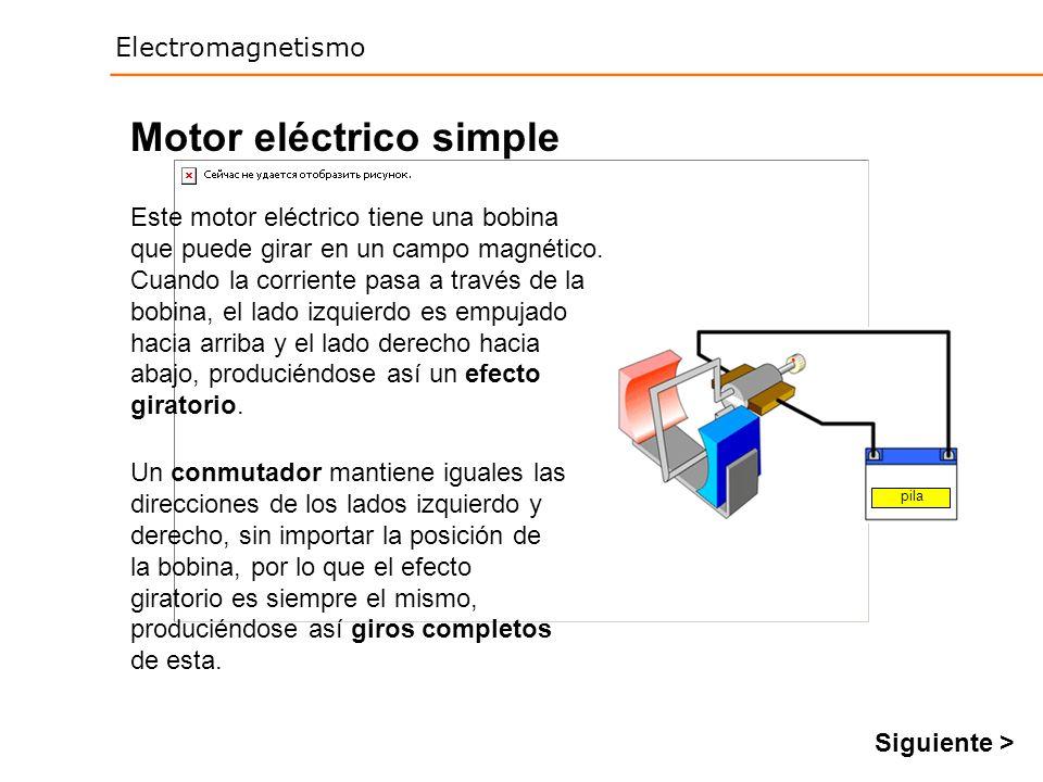 Electromagnetismo Motor eléctrico simple Este motor eléctrico tiene una bobina que puede girar en un campo magnético. Cuando la corriente pasa a travé