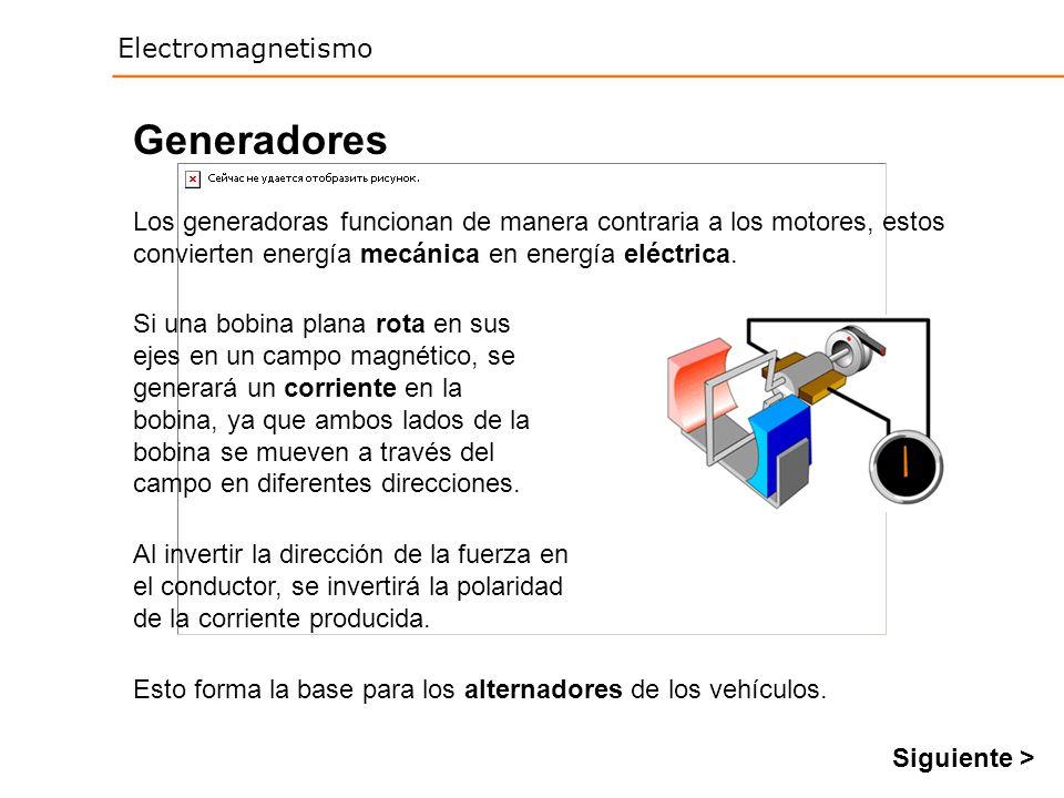 Electromagnetismo Generadores Los generadoras funcionan de manera contraria a los motores, estos convierten energía mecánica en energía eléctrica. Si