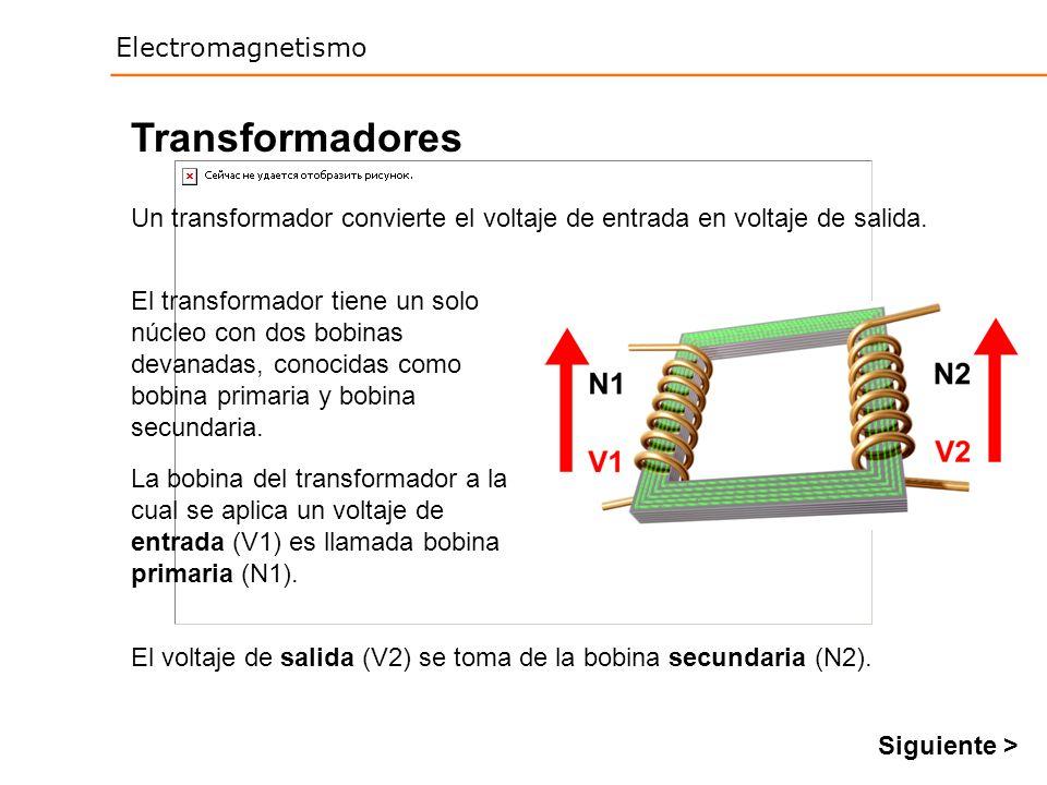 Electromagnetismo Transformadores Un transformador convierte el voltaje de entrada en voltaje de salida. El transformador tiene un solo núcleo con dos