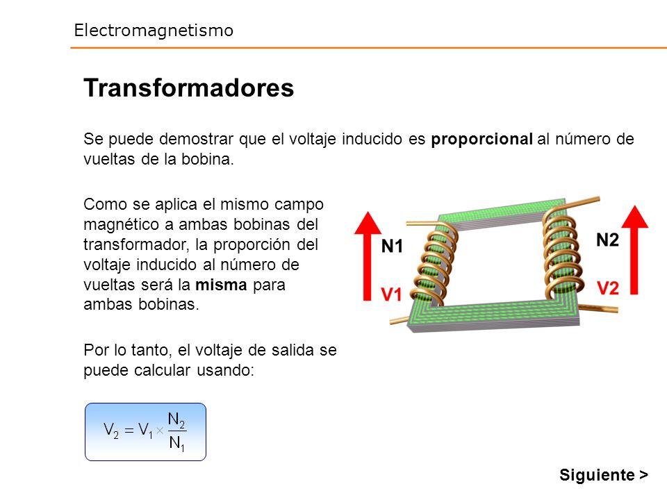 Electromagnetismo Transformadores Se puede demostrar que el voltaje inducido es proporcional al número de vueltas de la bobina. Como se aplica el mism