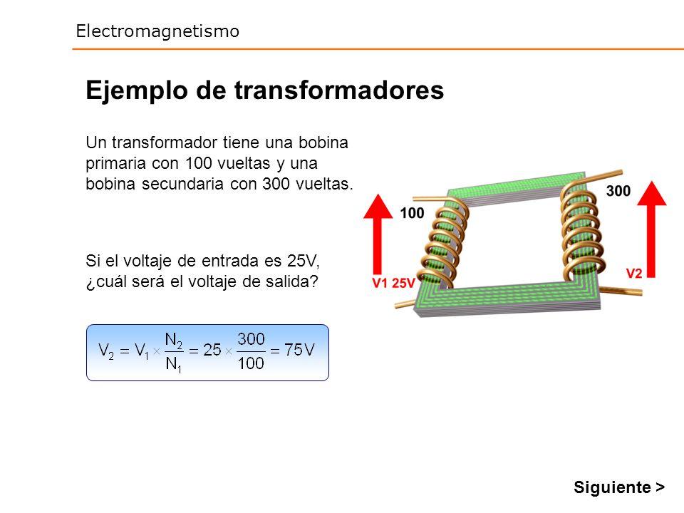 Electromagnetismo Ejemplo de transformadores Un transformador tiene una bobina primaria con 100 vueltas y una bobina secundaria con 300 vueltas. Si el
