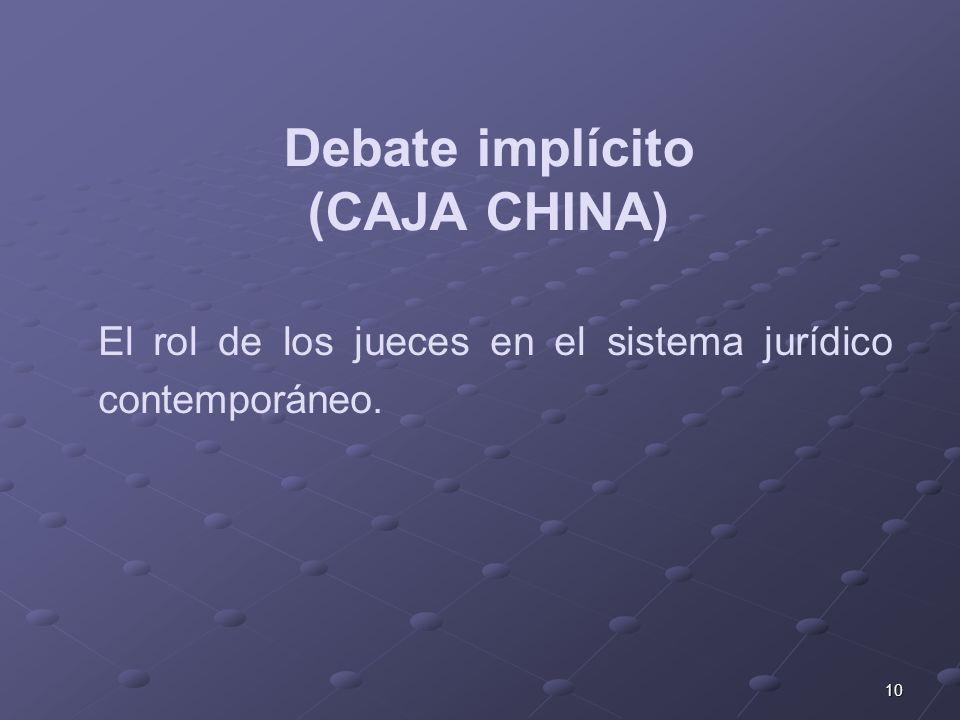 10 Debate implícito (CAJA CHINA) El rol de los jueces en el sistema jurídico contemporáneo.
