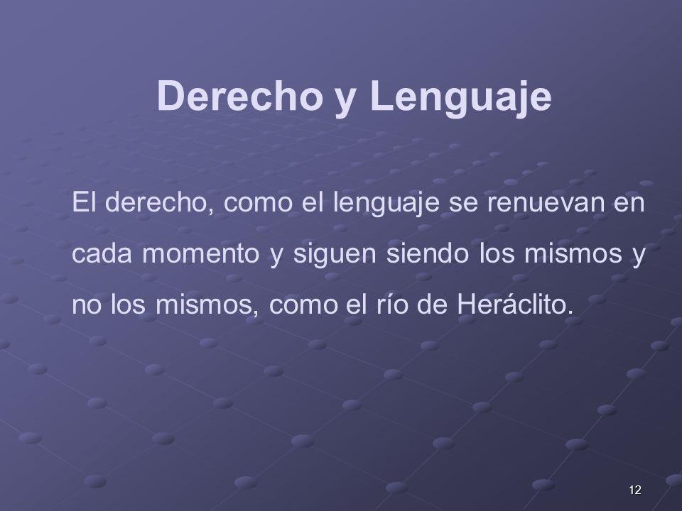 12 El derecho, como el lenguaje se renuevan en cada momento y siguen siendo los mismos y no los mismos, como el río de Heráclito. Derecho y Lenguaje