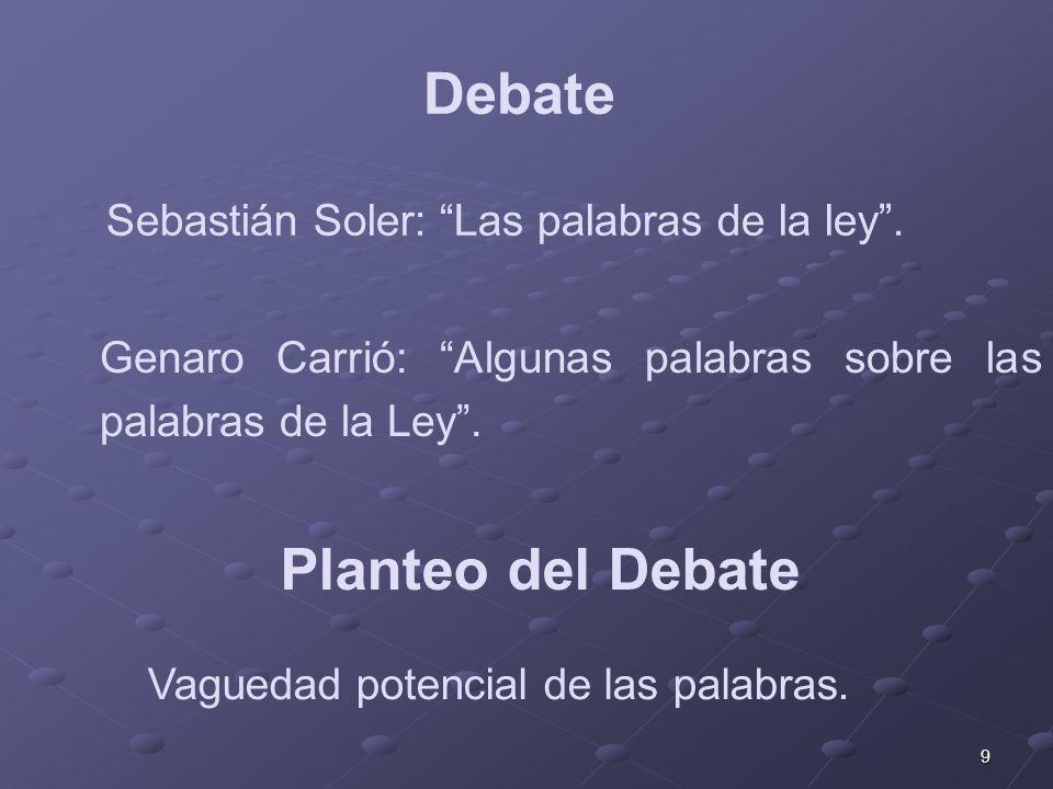 9 Genaro Carrió: Algunas palabras sobre las palabras de la Ley. Debate Sebastián Soler: Las palabras de la ley. Vaguedad potencial de las palabras. Pl