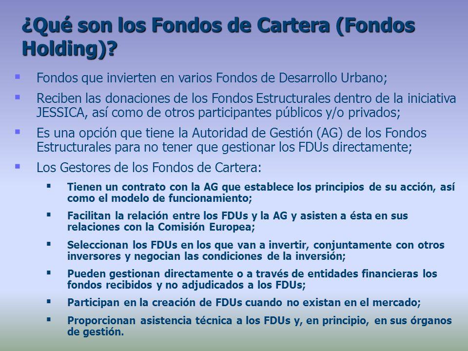 Fondos que invierten en varios Fondos de Desarrollo Urbano; Reciben las donaciones de los Fondos Estructurales dentro de la iniciativa JESSICA, así como de otros participantes públicos y/o privados; Es una opción que tiene la Autoridad de Gestión (AG) de los Fondos Estructurales para no tener que gestionar los FDUs directamente; Los Gestores de los Fondos de Cartera: Tienen un contrato con la AG que establece los principios de su acción, así como el modelo de funcionamiento; Facilitan la relación entre los FDUs y la AG y asisten a ésta en sus relaciones con la Comisión Europea; Seleccionan los FDUs en los que van a invertir, conjuntamente con otros inversores y negocian las condiciones de la inversión; Pueden gestionan directamente o a través de entidades financieras los fondos recibidos y no adjudicados a los FDUs; Participan en la creación de FDUs cuando no existan en el mercado; Proporcionan asistencia técnica a los FDUs y, en principio, en sus órganos de gestión.