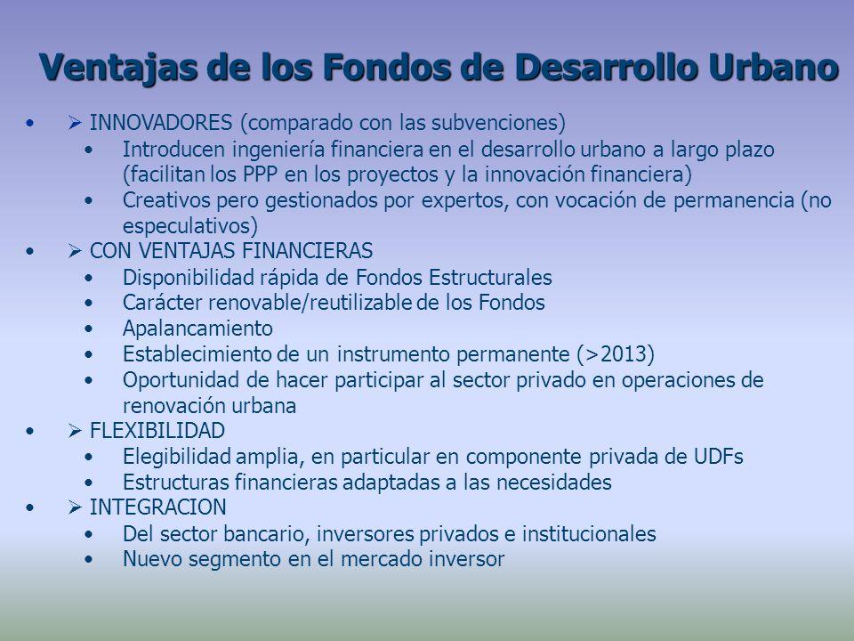 INNOVADORES (comparado con las subvenciones) Introducen ingeniería financiera en el desarrollo urbano a largo plazo (facilitan los PPP en los proyectos y la innovación financiera) Creativos pero gestionados por expertos, con vocación de permanencia (no especulativos) CON VENTAJAS FINANCIERAS Disponibilidad rápida de Fondos Estructurales Carácter renovable/reutilizable de los Fondos Apalancamiento Establecimiento de un instrumento permanente (>2013) Oportunidad de hacer participar al sector privado en operaciones de renovación urbana FLEXIBILIDAD Elegibilidad amplia, en particular en componente privada de UDFs Estructuras financieras adaptadas a las necesidades INTEGRACION Del sector bancario, inversores privados e institucionales Nuevo segmento en el mercado inversor Ventajas de los Fondos de Desarrollo Urbano