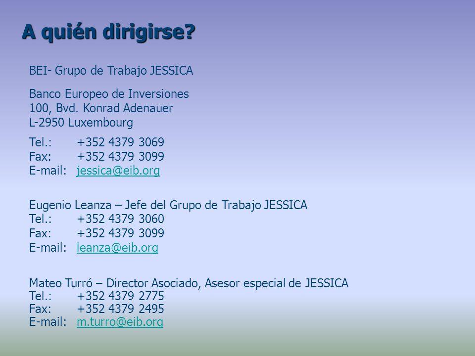 BEI- Grupo de Trabajo JESSICA Banco Europeo de Inversiones 100, Bvd.
