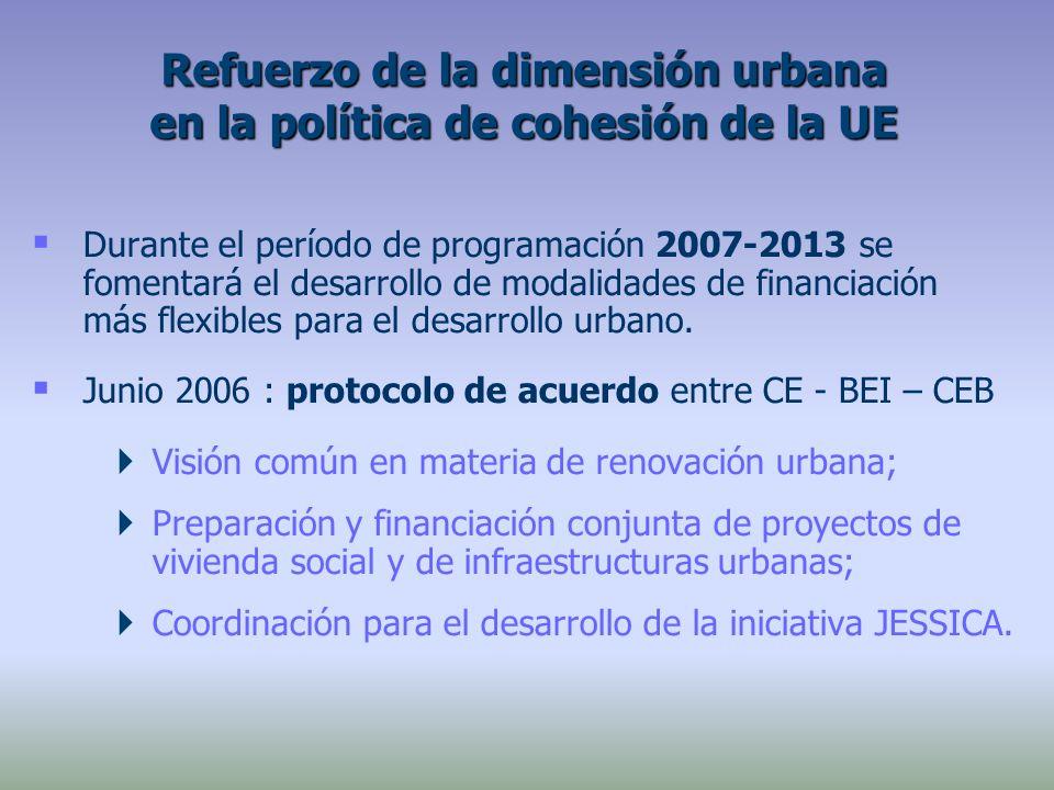 Durante el período de programación 2007-2013 se fomentará el desarrollo de modalidades de financiación más flexibles para el desarrollo urbano.