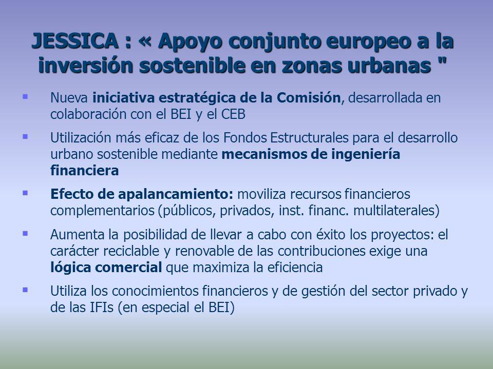 Nueva iniciativa estratégica de la Comisión, desarrollada en colaboración con el BEI y el CEB Utilización más eficaz de los Fondos Estructurales para el desarrollo urbano sostenible mediante mecanismos de ingeniería financiera Efecto de apalancamiento: moviliza recursos financieros complementarios (públicos, privados, inst.