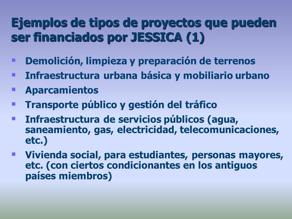 Demolición, limpieza y preparación de terrenos Infraestructura urbana básica y mobiliario urbano Aparcamientos Transporte público y gestión del tráfico Infraestructura de servicios públicos (agua, saneamiento, gas, electricidad, telecomunicaciones, etc.) Vivienda social, para estudiantes, personas mayores, etc.