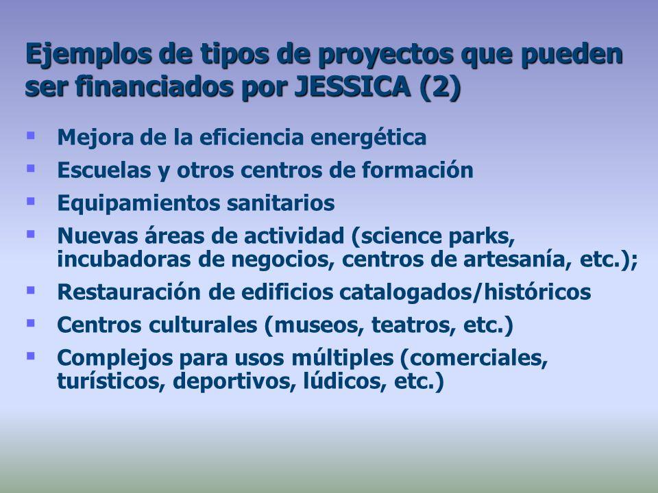 Mejora de la eficiencia energética Escuelas y otros centros de formación Equipamientos sanitarios Nuevas áreas de actividad (science parks, incubadoras de negocios, centros de artesanía, etc.); Restauración de edificios catalogados/históricos Centros culturales (museos, teatros, etc.) Complejos para usos múltiples (comerciales, turísticos, deportivos, lúdicos, etc.) Ejemplos de tipos de proyectos que pueden ser financiados por JESSICA (2)