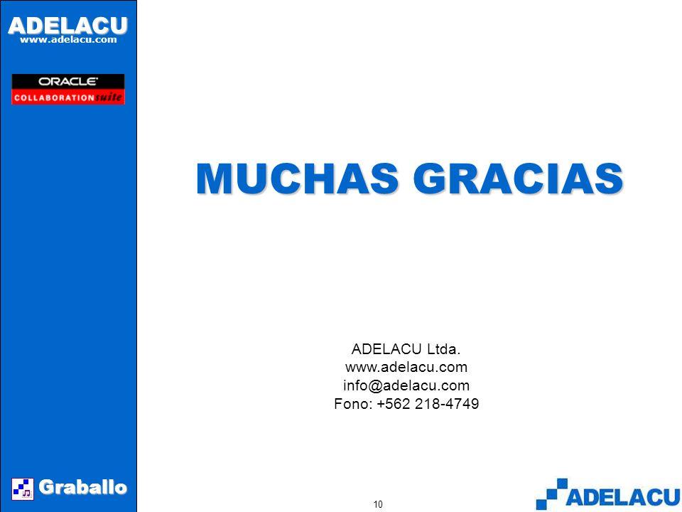 ADELACU www.adelacu.com Graballo 9CONCLUSIONES A través de Graballo se pueden incorporar a Collaboration Suite los requerimientos telefónicos.