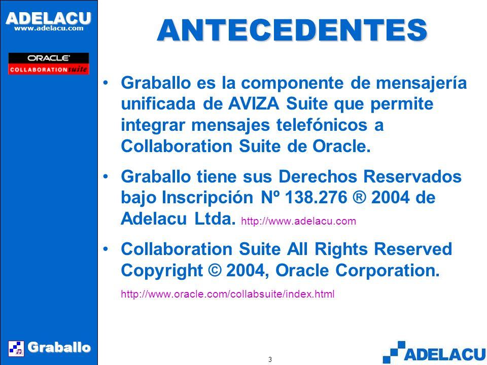 ADELACU www.adelacu.com Graballo 2INTRODUCCIÓN Esta presentación contiene un ejemplo de integración entre Graballo de Adelacu y Collaboration Suite de Oracle.