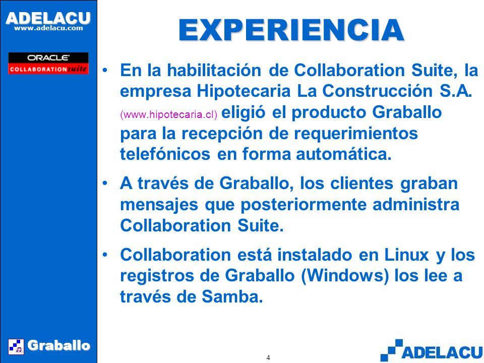 ADELACU www.adelacu.com Graballo 3ANTECEDENTES Graballo es la componente de mensajería unificada de AVIZA Suite que permite integrar mensajes telefónicos a Collaboration Suite de Oracle.