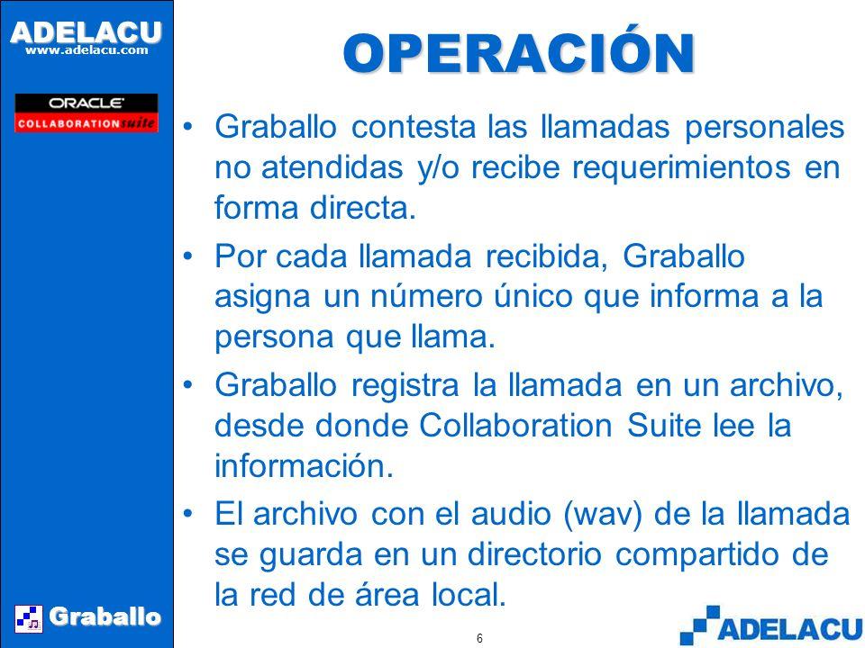 ADELACU www.adelacu.com Graballo 5 USOS DE GRABALLO Graballo puede funcionar en dos modos distintos: –Recepción directa de requerimientos –Mensajes telefónicos personales Los requerimientos de clientes se reciben a través de un número telefónico único y los mensajes se procesan como pedidos.