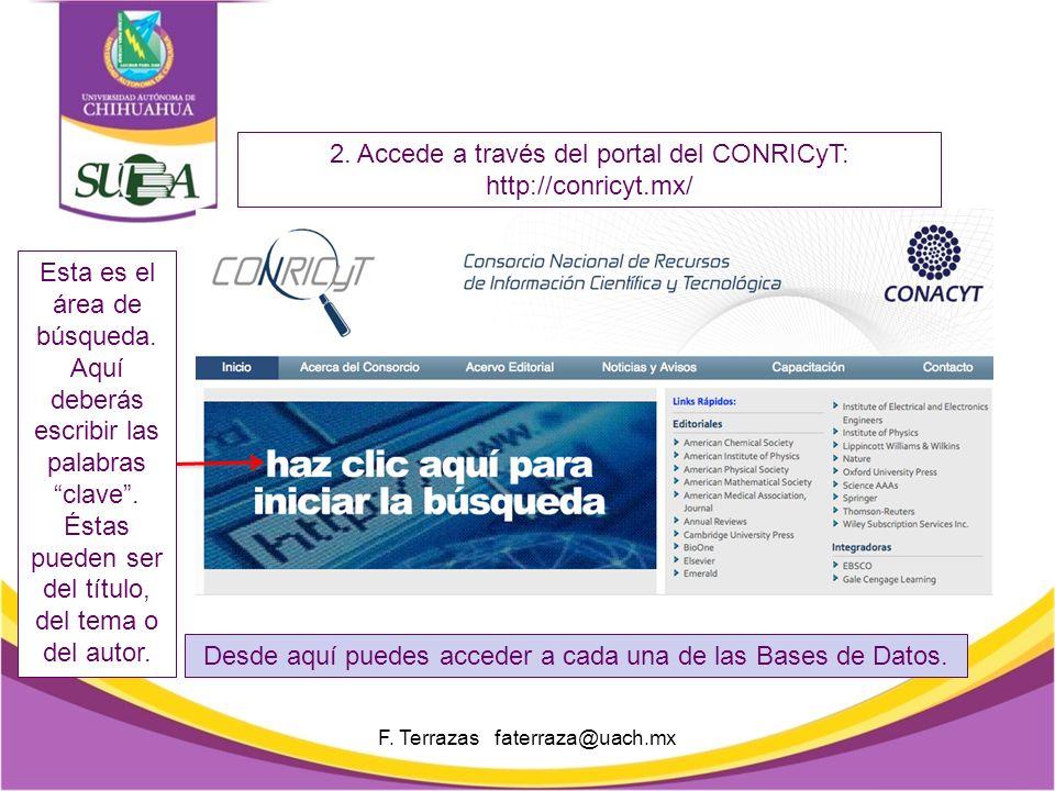 Así se muestra la pantalla de búsqueda del metabuscador. F. Terrazas faterraza@uach.mx