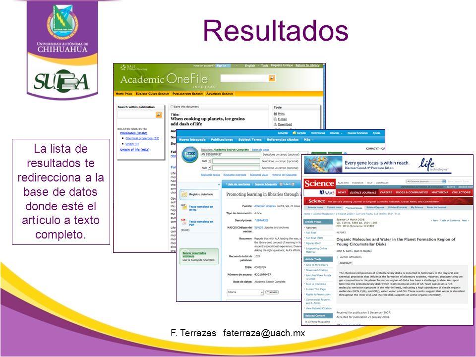 Lista de resultados F.