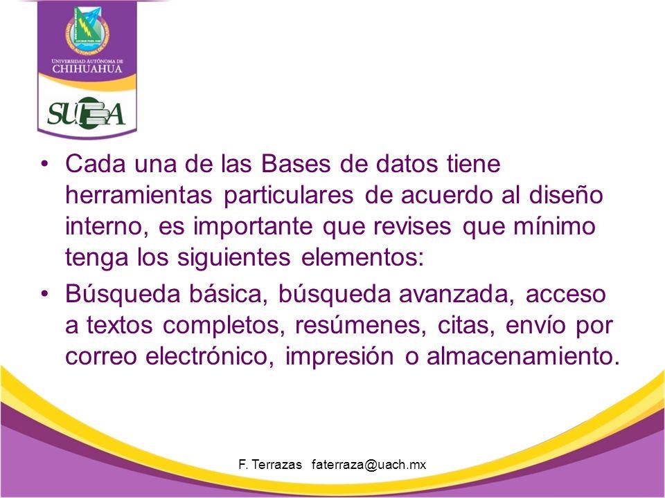 Búsquedas F. Terrazas faterraza@uach.mx La plataforma tiene varios filtros de búsqueda