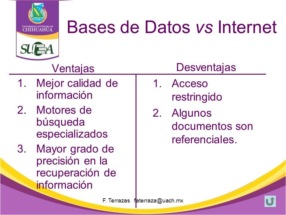 F. Terrazas faterraza@uach.mx ¿Qué son las bases de datos.
