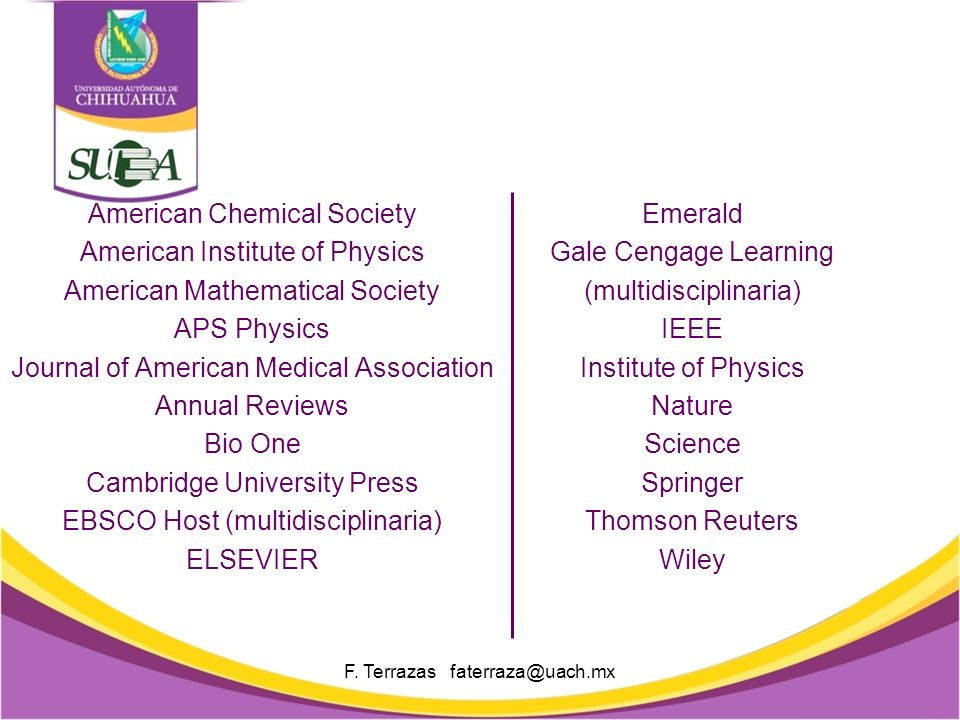 American Chemical Society American Institute of Physics American Mathematical Society APS Physics Journal of American Medical Association Annual Reviews Bio One Cambridge University Press EBSCO Host (multidisciplinaria) ELSEVIER F.
