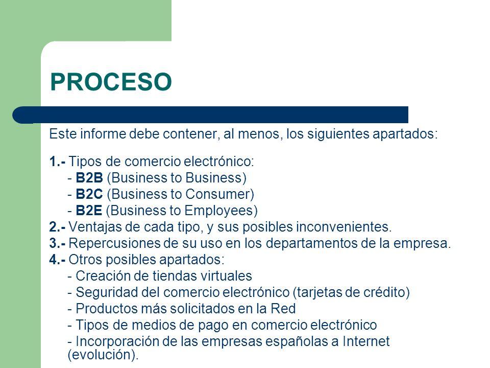 PROCESO Este informe debe contener, al menos, los siguientes apartados: 1.- Tipos de comercio electrónico: - B2B (Business to Business) - B2C (Busines