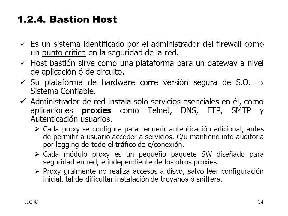 JIG ©14 1.2.4. Bastion Host __________________________________________________ Es un sistema identificado por el administrador del firewall como un pu