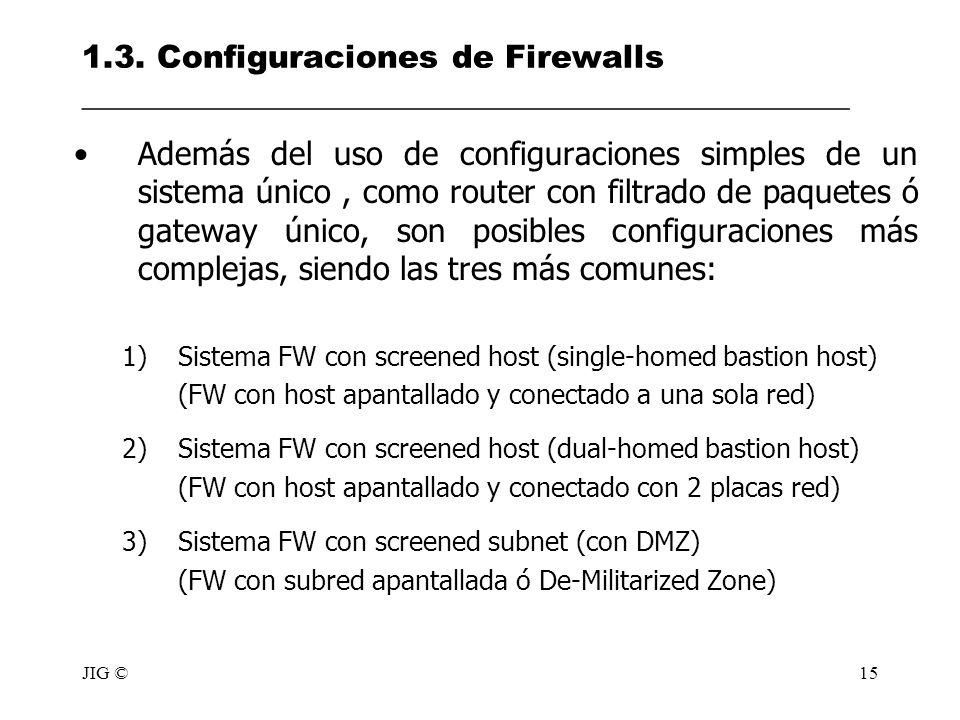 JIG ©15 1.3. Configuraciones de Firewalls ________________________________________________ Además del uso de configuraciones simples de un sistema úni