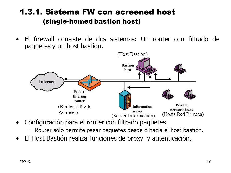 JIG ©16 1.3.1. Sistema FW con screened host (single-homed bastion host) _____________________________________________ El firewall consiste de dos sist
