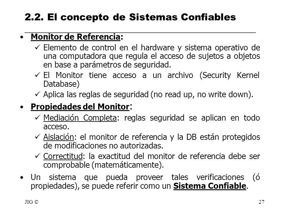 JIG ©27 2.2. El concepto de Sistemas Confiables ________________________________________________ Monitor de Referencia: Elemento de control en el hard
