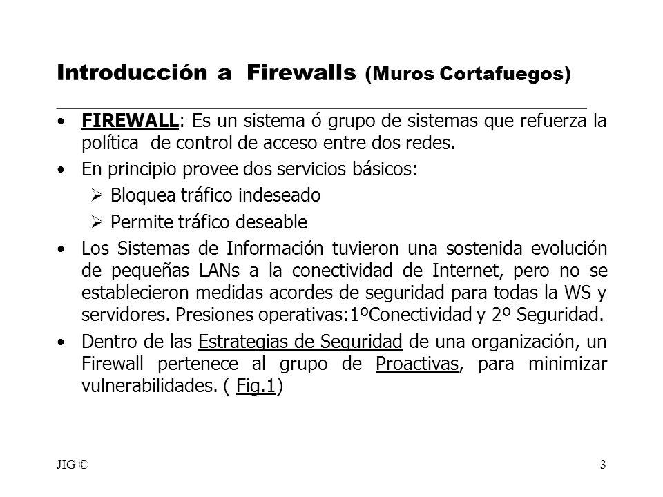 JIG ©3 Introducción a Firewalls (Muros Cortafuegos) ________________________________________________ FIREWALL: Es un sistema ó grupo de sistemas que r