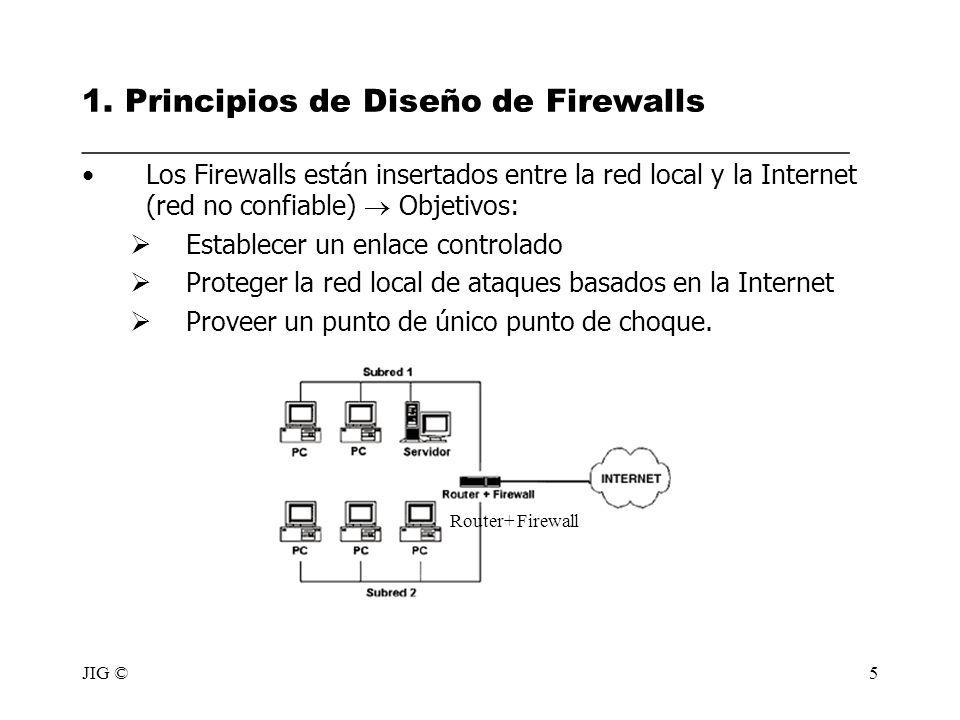 JIG ©5 1. Principios de Diseño de Firewalls ________________________________________________ Los Firewalls están insertados entre la red local y la In