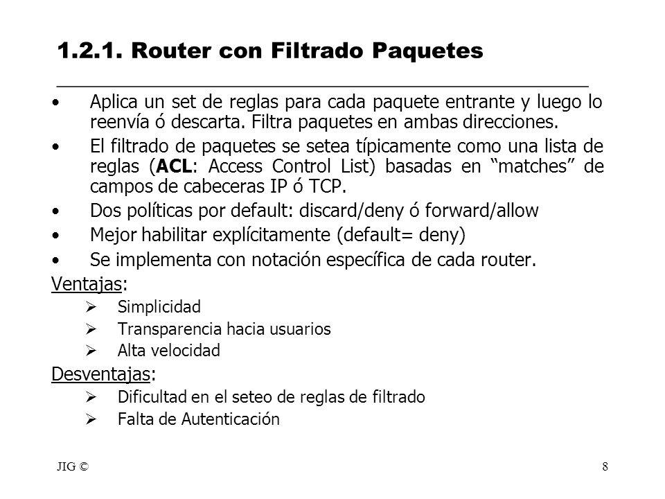 JIG ©8 1.2.1. Router con Filtrado Paquetes ________________________________________________ Aplica un set de reglas para cada paquete entrante y luego