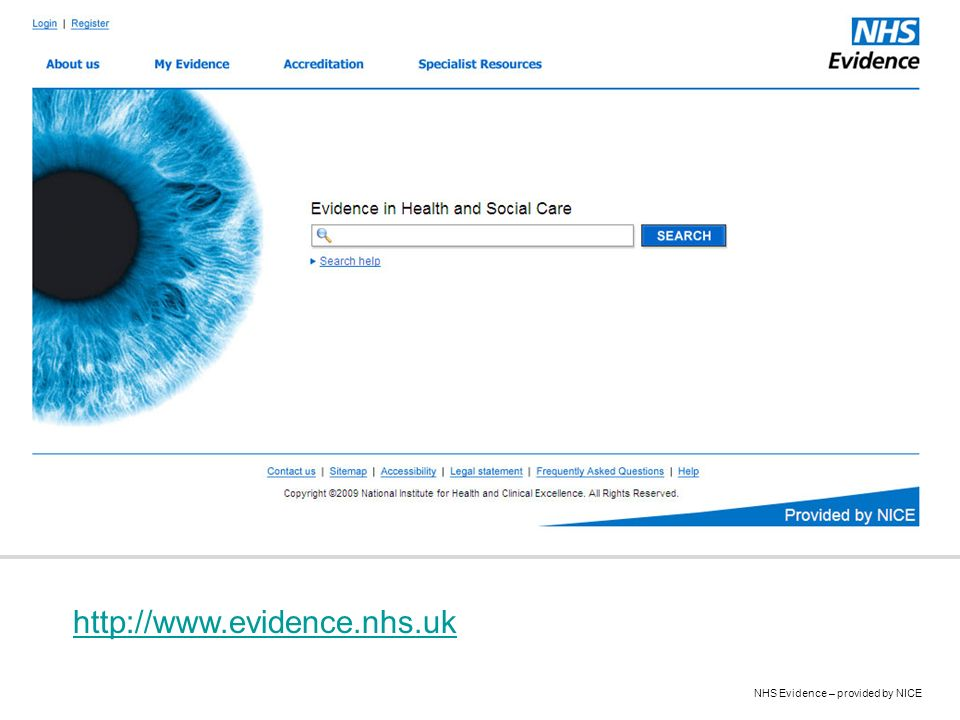 NHS Evidence – provided by NICE http://www.evidence.nhs.uk